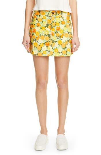 Simon Miller Floral Print Denim Miniskirt