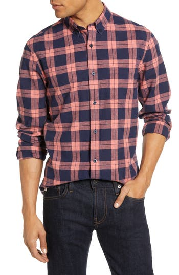 1901 Heather Plaid Linen Blend Sport Shirt
