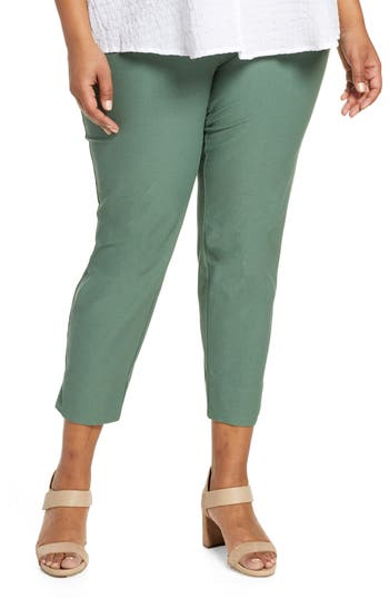 Eileen Fisher Slim Washable Stretch Crepe Pants (Plus Size)