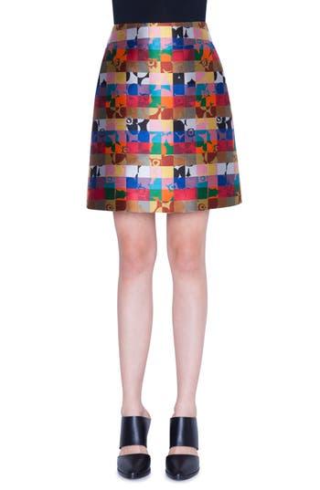 Akris punto Floral Jacquard Skirt