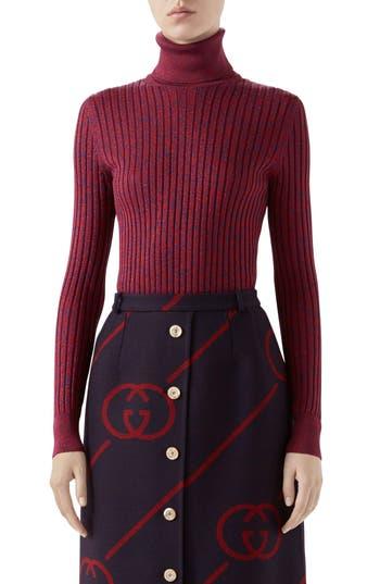 Gucci Metallic Rib Silk Turtleneck Sweater