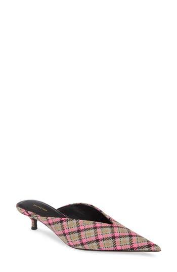 Balenciaga Plaid Pointy Toe Mule (Women)