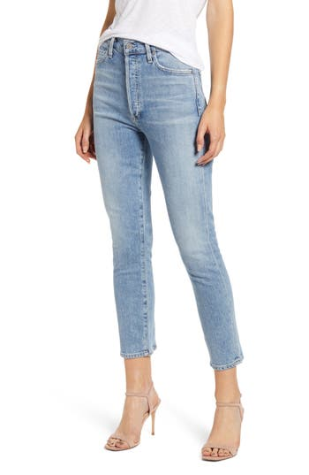 Citizens of Humanity Olivia High Waist Back Seam Crop Skinny Jeans (Outset)