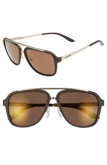 Carrera Eyewear 57Mm Navigator Sunglasses - Brown/ Brown Gold Mirror
