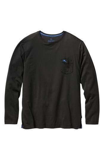 Big & Tall Tommy Bahama Bali Skyline Long Sleeve Pima Cotton T-Shirt - Black