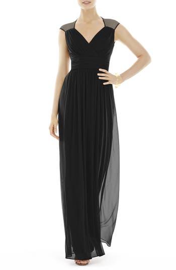 Alfred Sung Shirred Chiffon Cap Sleeve Gown, Black