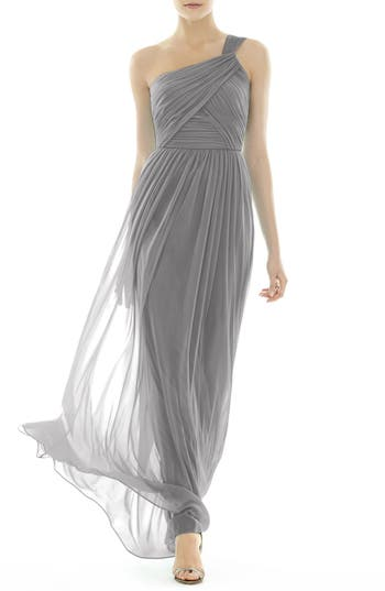 Alfred Sung One-Shoulder Shirred Chiffon Gown, Metallic
