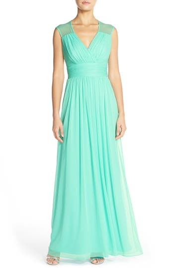 Alfred Sung Shirred Chiffon Cap Sleeve Gown, Blue/green