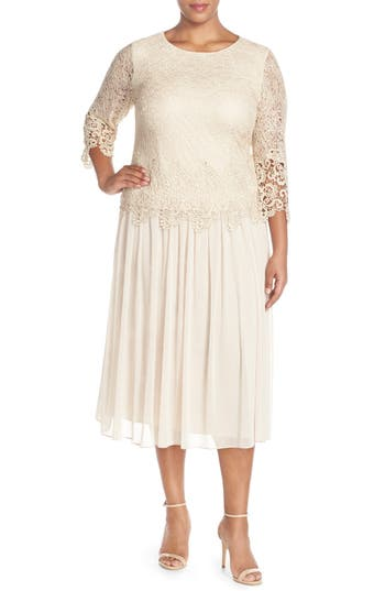 Plus Size Women's Alex Evenings Lace & Chiffon Tea Length Dress