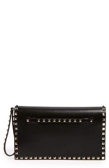 Valentino Garavani 'Rockstud' Leather Flap Clutch - at NORDSTROM.com