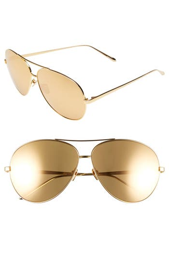 Women's Linda Farrow 64Mm 22 Karat Gold Plated Aviator Sunglasses - Yellow Gold/ Gold