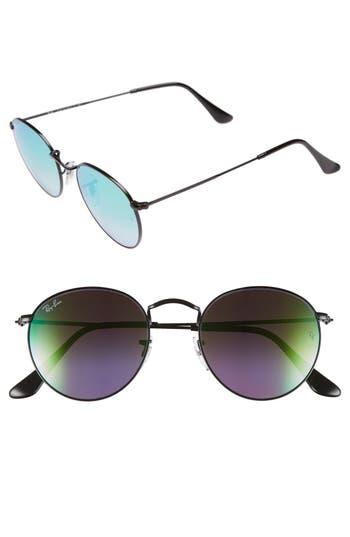 Ray-Ban Icons 50Mm Round Sunglasses - Black/ Green