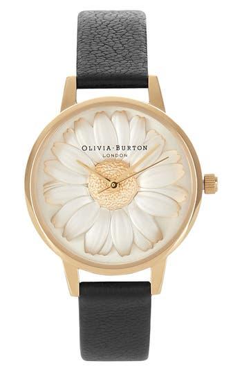 Olivia Burton 3D Daisy Leather Strap Watch, 30mm