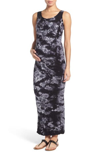 Women's Tees By Tina 'Lattice' Tie Dye Textured Maternity Maxi Dress