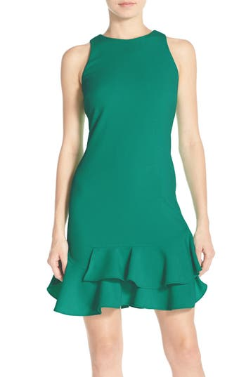 Chelsea28 Tiered Ruffle Hem Dress, Green