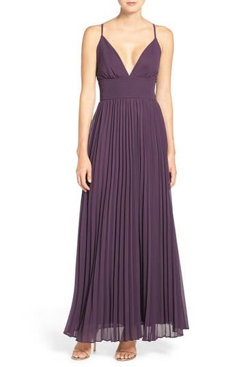 Lulus Plunging V-Neck Pleat Georgette Gown, Purple