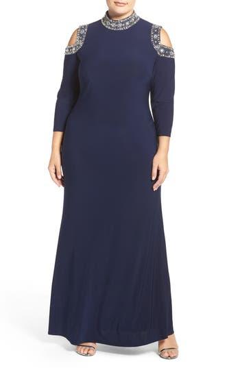 Plus Size Marina Embellished Neck Cold Shoulder Gown, Grey