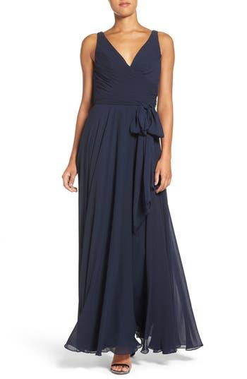 Watters Karen V-Neck A-Line Chiffon Gown