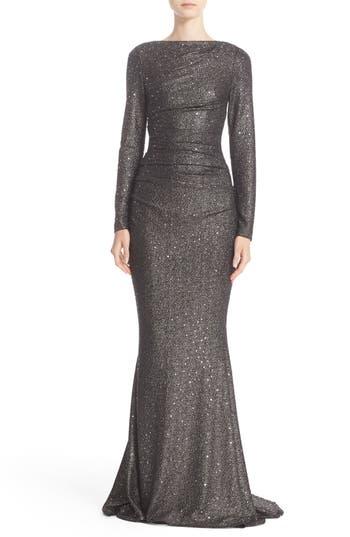 Talbot Runhof Sequin Glitter Jersey Ruched Gown
