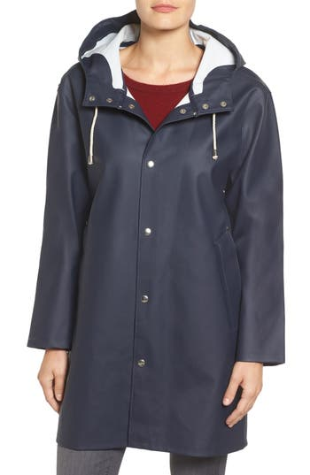 Women's Stutterheim Mosebacke Waterproof A-Line Hooded Raincoat, Size XX-Small - Blue