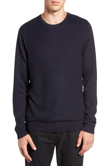 Calibrate Honeycomb Stitch Crewneck Sweater, Blue