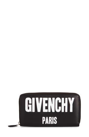 Women's Givenchy Logo Print Zip Around Leather Wallet -