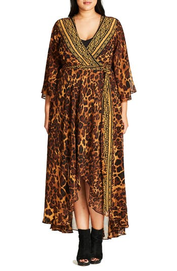 Plus Size Women's City Chic Luxe Leopard Maxi Wrap Dress