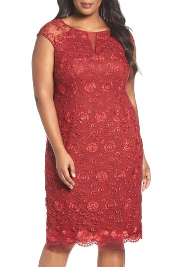 Plus Size Brianna Illusion Sleeve Corded Lace Cocktail Dress