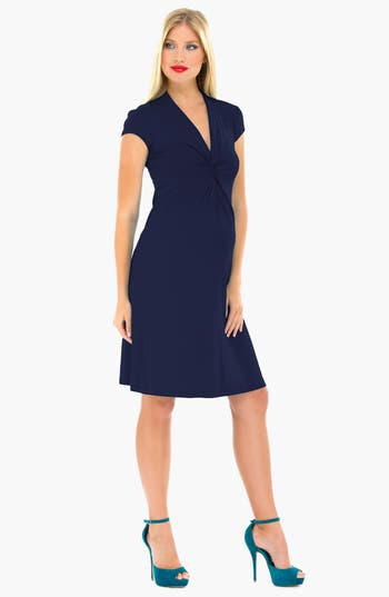 Women's Olian Maternity Wrap Dress, Size Medium - Blue