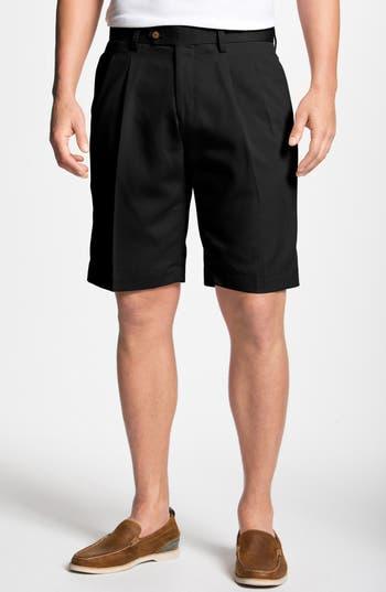 Big & Tall Cutter & Buck Double Pleated Microfiber Twill Shorts, Black