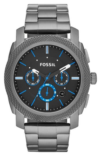 Fossil 'Machine' Chronograph Bracelet Watch, 45mm