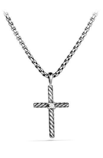David Yurman 'Cable Classics' Cross with Diamond on Chain