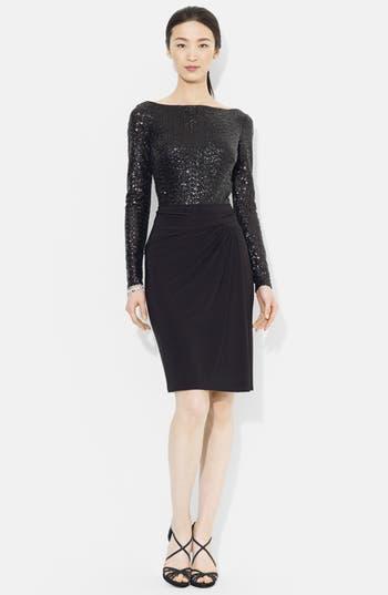 Lauren Ralph Lauren Sequin Mesh & Jersey Sheath Dress