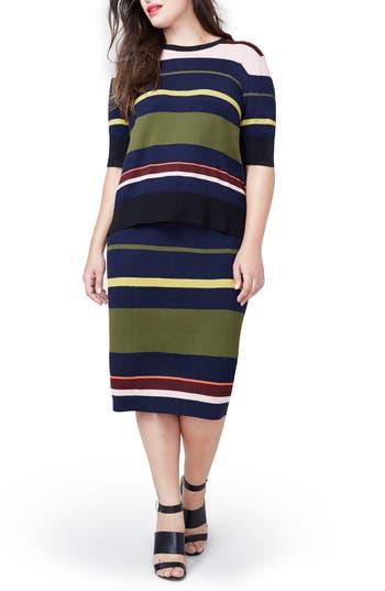 Plus Size Rachel Roy Variegated Stripe Midi Skirt