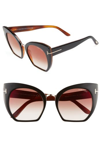 Tom Ford Samantha 55Mm Sunglasses - Black/ Bordeaux Mirror