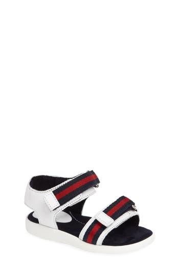 Toddler Gucci Stripe Web Sandal, Size 5 - White