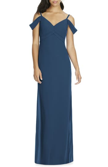 Social Bridesmaids V-Neck Chiffon Cold Shoulder Gown, Blue