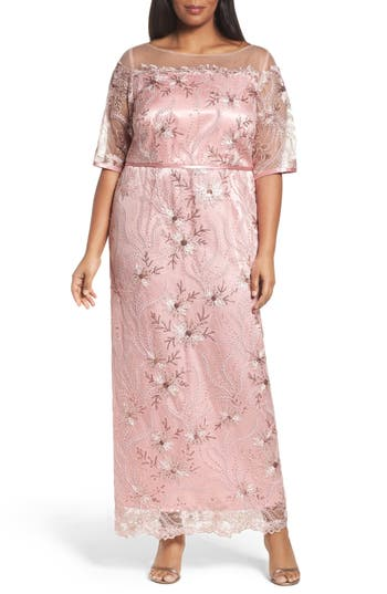 Plus Size Brianna Embellished Gown, Pink