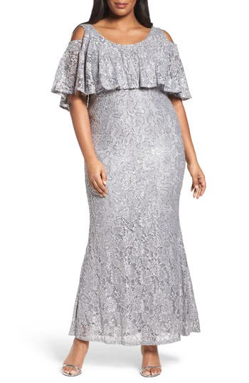 Plus Size Marina Sequin Lace Cold Shoulder Long Dress, Grey