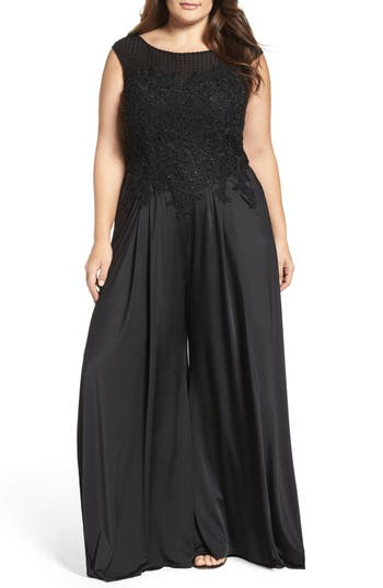 Plus Size Womens MAC Duggal Lace Applique Jumpsuit Size 14W  Black