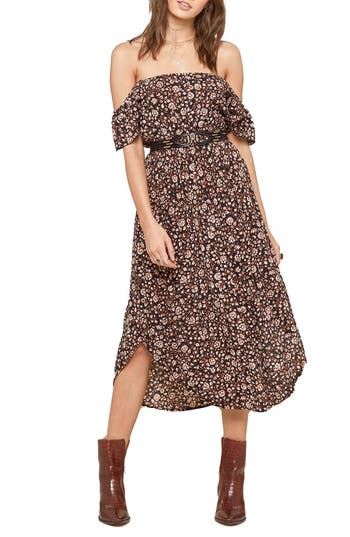 Amuse Society Off The Shoulder Midi Dress