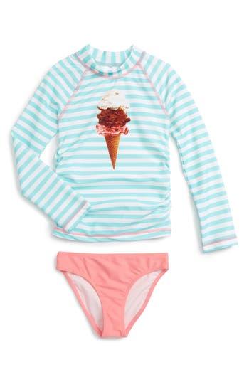 Girl's Tucker + Tate Two-Piece Rashguard Swimsuit