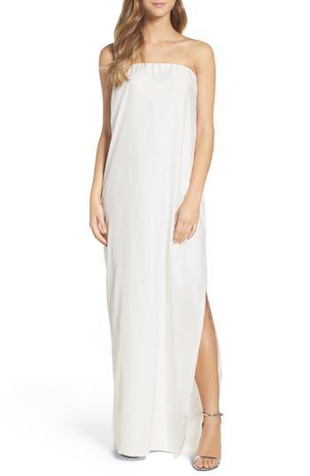 Natalie Deayala Strapless Silk Column Gown, White