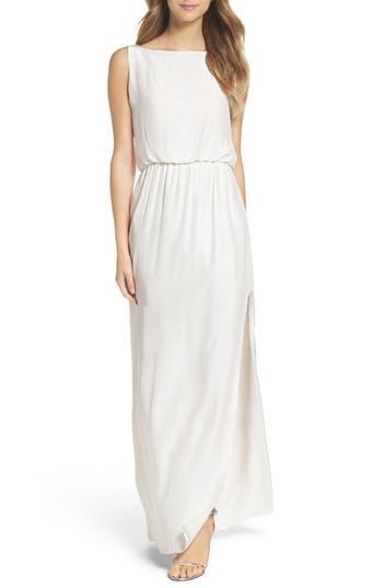 Natalie Deayala Drape Back Silk Column Gown, White