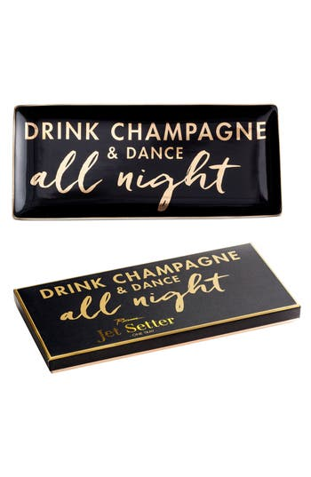 Drink Champagne & Dance All Night Porcelain Trinket Tray