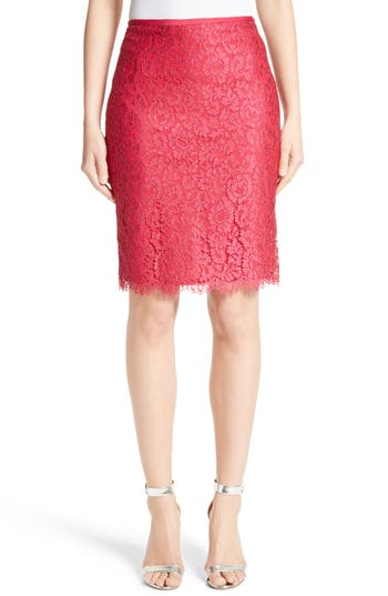 Women's St. John Collection Double Scallop Paisley Lace Skirt