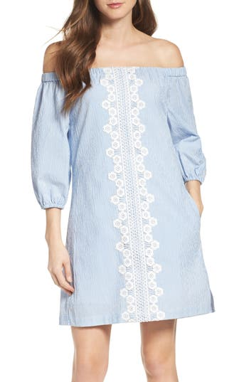 Women's Eliza J Lace Trim Seersucker Off The Shoulder Dress