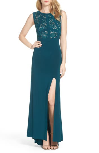 Morgan & Co. Lace & Jersey Gown, /6 - Green
