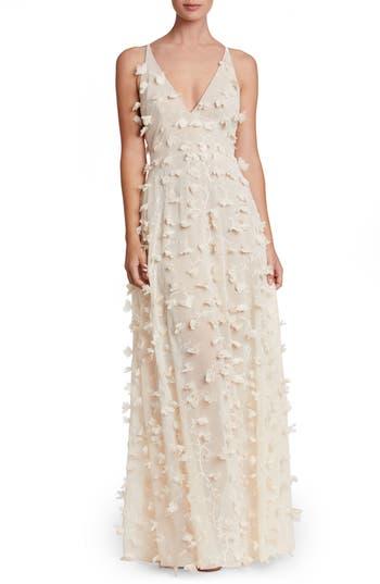 Dress The Population Fleur Floral Applique Gown, Ivory