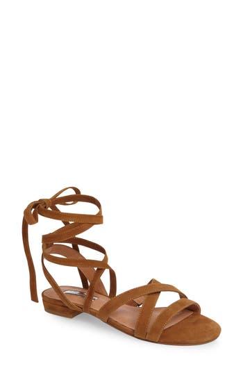 Women's Halogen Frances Ankle Wrap Sandal, Size 5.5 M - Brown